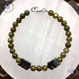 Green Labradorite & Hematite Arrow Bracelet
